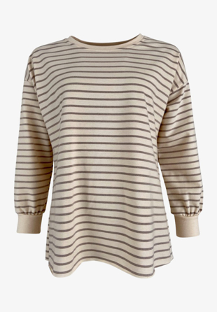 Black Colour - Sweatshirt Jamie Beige Stripe