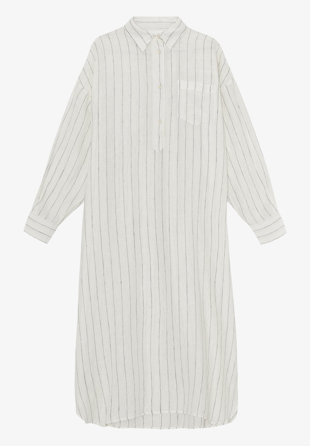 Skall Studio - Skjortekjole Ivy Shirtdress Off White/Black Stripe