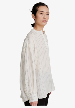 Skall Studio - Skjorte Ivy Shirt Off White/Black Stripe